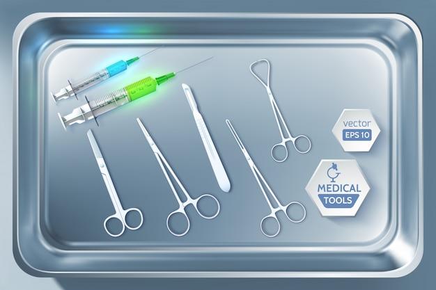 Narzędzia medyczne z realistycznymi strzykawkami kleszcze kleszcze nożyczki skalpel na ilustracji metalowego sterylizatora