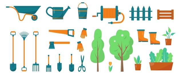 Narzędzia ogrodnicze i rośliny. elementy lub ikony dla ogrodnictwa i rolnictwa. zestaw wiosenny lub letni.