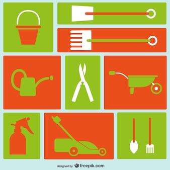 Narzędzia ogrodnicze ikony