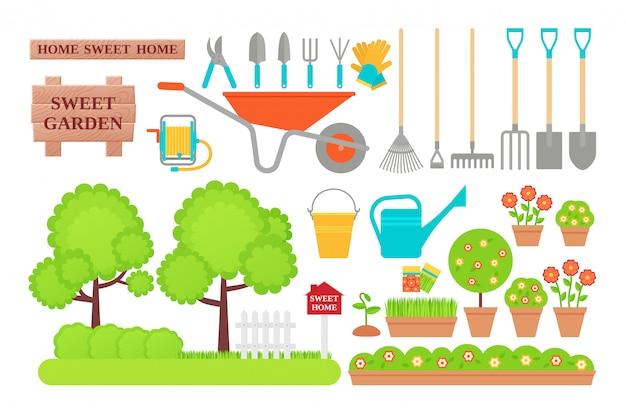 Narzędzia ogrodnicze. kolekcja ogrodnicza. płaska ilustracja.
