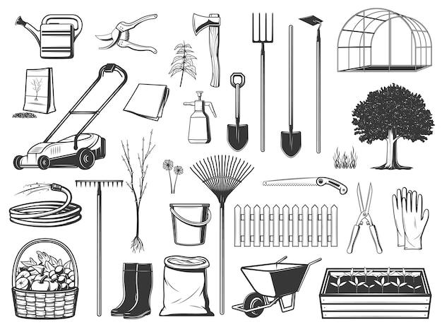 Narzędzia ogrodnicze, sprzęt rolniczy na białym tle ikony
