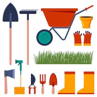 Narzędzia ogrodnicze wektor kreskówka zestaw na białym tle.