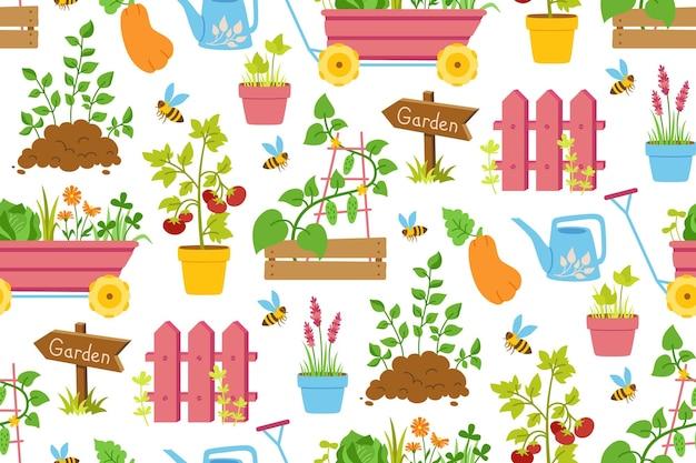 Narzędzia ogrodnicze wzór bez szwu ogrodzenie sadzonki warzyw i gumowy drewniany wskaźnik strzałki cartoon sprzęt pracy narzędzie do uprawy rolnej