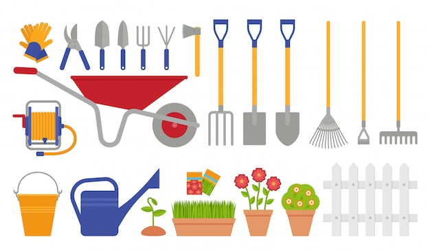Narzędzia ogrodnicze. zestaw ogrodniczy. ilustracja