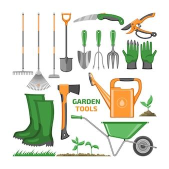 Narzędzia ogrodowe sprzęt ogrodniczy grabie pacy łopata i konewka ogrodnika farmy