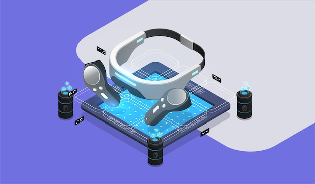 Narzędzia okularów wirtualnej rzeczywistości vr. koncepcja wirtualnej rzeczywistości rozszerzonej. ilustracja projektu izometrycznego