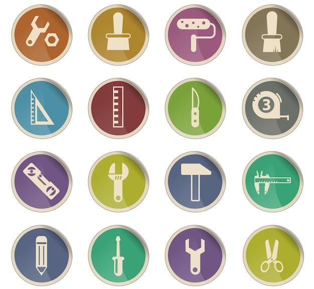 Narzędzia pracy wektorowe ikony w postaci okrągłych etykiet papierowych