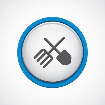 Narzędzia rolnicze błyszczące z niebieską ikoną obrysu, koło, na białym tle