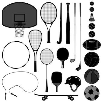 Narzędzia sportowe koszykówka tenis baseball siatkówka piłka golfowa.