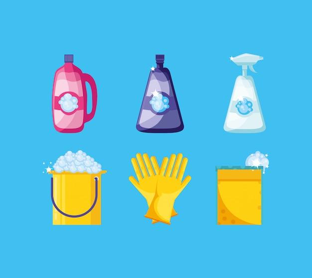 Narzędzia sprzątania z ustawionymi ikonami