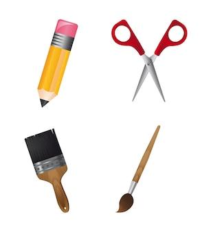 Narzędzia szkolne na białym tle
