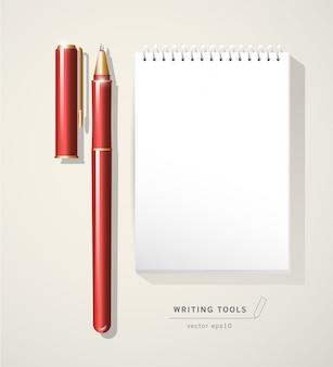 Narzędzie czerwone pióro metalowe z nakrętką na białym tle. przestrzeń tekstowa. pisanie ikona narzędzia biurowe. metalowa tekstura.