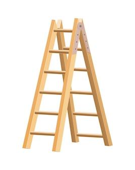 Narzędzie gospodarstwa domowego z drewnianą drabiną. drabina schodowa do zastosowań domowych i budowlanych.