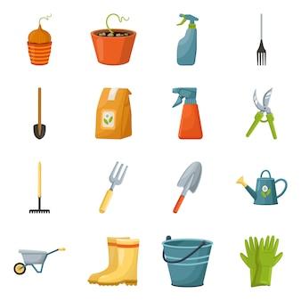 Narzędzie ogrodniczych elementów kreskówek. zestaw na białym tle ilustracja łopata. opakowanie i sprzęt dla gospodarstwa. zestaw elementów sprzętu ogrodniczego.