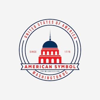 Nas waszyngton capitol znaczek logo wektor ilustracja projektu. amerykański symbol