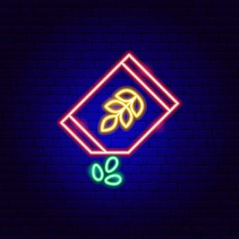 Nasiona neon znak. ilustracja wektorowa promocji ogrodu.