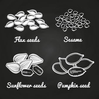 Nasiona sezamu, dyni, słonecznika i lnu na białym tle na tablicy