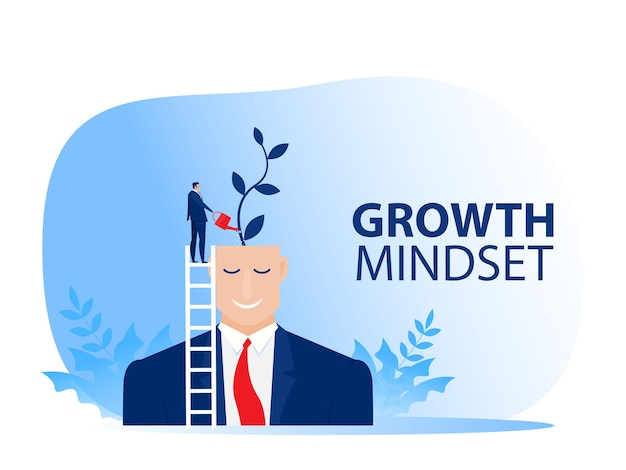 Nastawienie na wzrost. biznesmen podlewaj rośliny