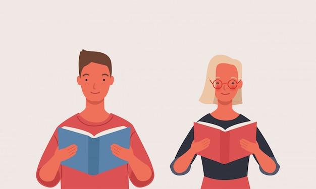 Nastolatek chłopak i dziewczyna czyta książkę lub studentów studiujących.