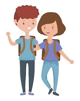 Nastolatek chłopak i dziewczyna kreskówka