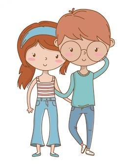 Nastolatek chłopiec i dziewczyna kreskówka