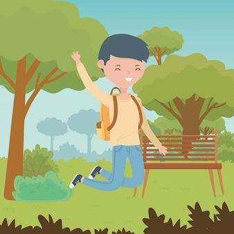 Nastolatek chłopiec kreskówka