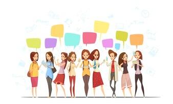 Nastolatek dziewczyn znaków kreskówki retro komunikacyjny online plakat z pieniędzy symbolami i gadka wiadomości gulgocze wektorową ilustrację