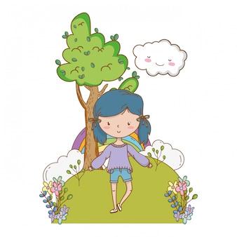 Nastolatek dziewczyna kreskówka