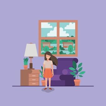 Nastolatek dziewczyna w pokoju dziennym