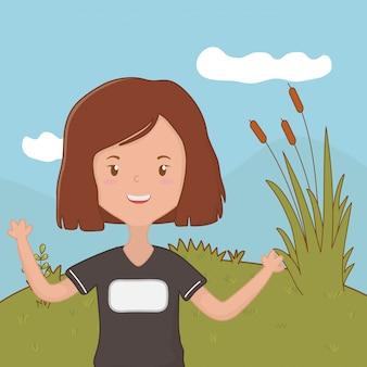 Nastolatek dziewczyny kreskówka