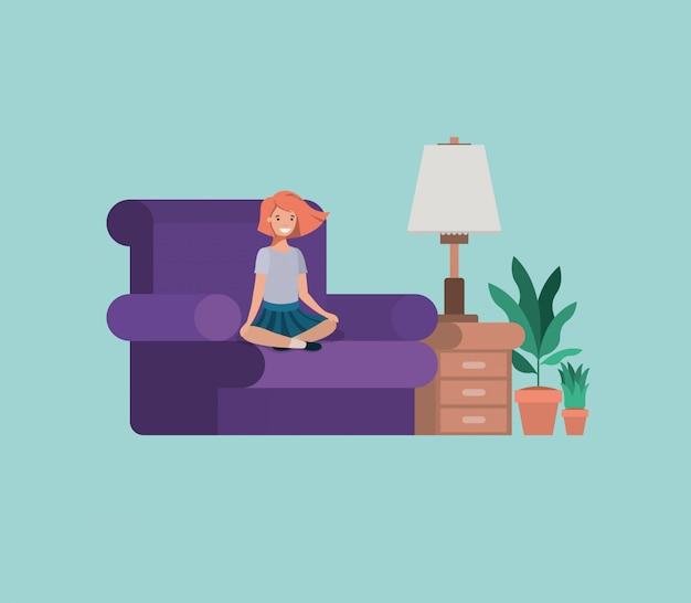 Nastolatek dziewczyny obsiadanie w pokoju dziennym