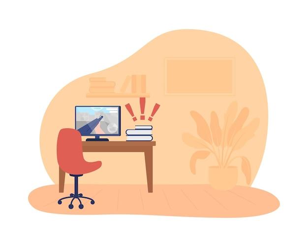 Nastolatek pokój 2d wektor ilustracja na białym tle. biurko z ekranem komputera. gra wideo na wyświetlaczu. aktywność w czasie wolnym w domu. przytulne mieszkanie płaskie wnętrze na tle kreskówka. kolorowa scena domu