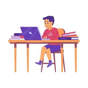 Nastolatek siedzi przy biurku z komputerem i książkami płaski wektor ilustracja na białym tle