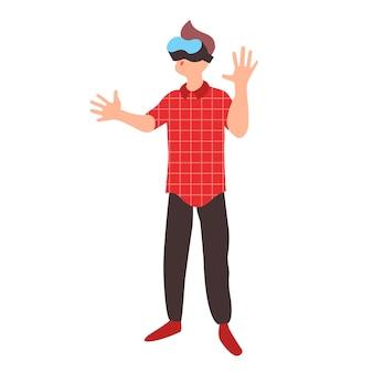 Nastolatek uczy się w okularach wirtualnej rzeczywistości nastolatek nosi zestaw słuchawkowy vr