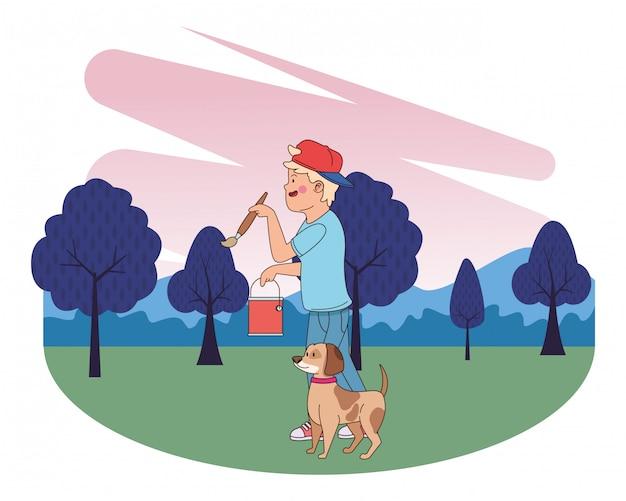 Nastolatek uśmiecha się psią kreskówkę i chodzi
