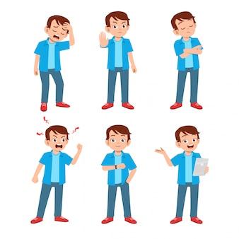 Nastolatek z wieloma wyrażeniami gestów