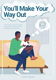 Nastolatek zdrowia psychicznego plakat płaski wektor szablon