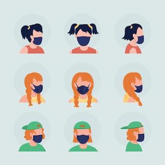 Nastolatki z czarnymi maskami pół płaski kolor wektor zestaw awatarów. portret z respiratorem z przodu iz boku. ilustracja na białym tle nowoczesny styl kreskówki do projektowania graficznego i pakietu animacji