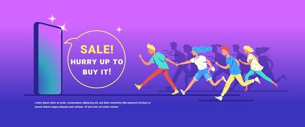 Nastoletni ludzie biegnący do przodu koncepcja wektor ilustracja szczęśliwych nastolatków spieszących się na zakup nowego smartfona. zadowoleni konsumenci spieszą się, aby dotrzeć do sprzedaży na gradientowym tle