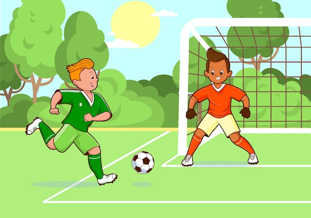 Nastoletni piłkarze kopiący piłkę nożnązielone boiska do piłki nożnejcel do piłki nożnejwektorpłaska kreskówkakomiks