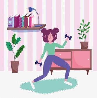 Nastoletni podnośni dumbbells w izbowym aktywność sporcie ćwiczą w domu