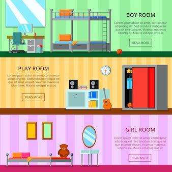 Nastoletni pokój dla dziewczyny i dla chłopca bawiących się przestrzeni zestaw płaskich poziomych banerów na białym tle