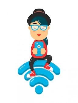 Nastoletnia dziewczyna siedzi na znak wi-fi niebieski i za pomocą smartfona do internetu. płaskie ilustracja na białym tle