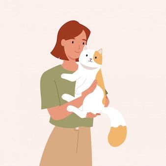 Nastoletnia dziewczyna trzyma jej ślicznego kota. portret szczęśliwy właściciela zwierzaka. ilustracja wektorowa w stylu płaski