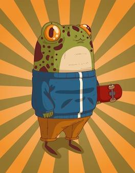 Nastoletnia żaba w niebieskiej bluzie z deskorolką wyszła do parku na przejażdżkę z przyjaciółmi w go