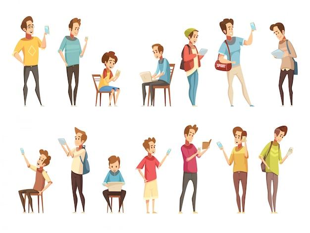 Nastoletnie grupy chłopców z gadżetami elektronicznych inteligentnych telefonów komórkowych komunikujących się z kreskówkami w stylu retro