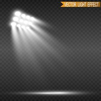 Naświetlacze stadionowe jasno oświetlają wieczorne lub nocne gry sportowe, koncerty, pokazy, wydarzenia. na przezroczystym tle. areny jasnych reflektorów. jasne światła. podświetlana scena.
