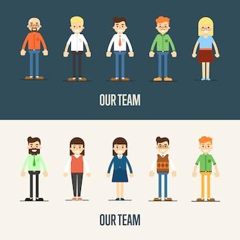 Nasz zespół banner z postaciami z kreskówek