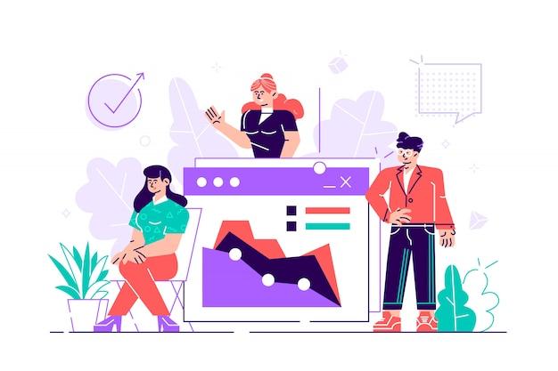 Nasz zespół. grupa uśmiechniętych ludzi wykonujących gest powitalny. uruchomienie. koledzy i przyjaciele. nowoczesne mieszkanie styl projektowania ilustracja na białym tle. pojęcie pracy zespołowej.