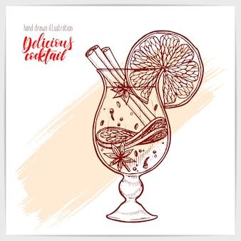 Naszkicowana karta ze smacznym grzanym winem z owocami i przyprawami